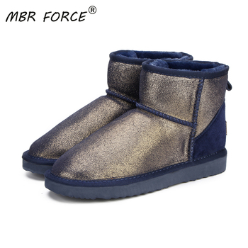 MBR FORCE Fashion Women snow boots 100% Genuine Leather women  Boots warm waterproof winter boots ankle boots Free Shipping 100% genuine leather natural fur snow boots warm wool women boots classic waterproof ankle boots women shoes lady winter boots