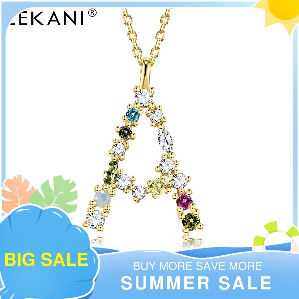 LEKANI 100% 925 Sterling Silver Necklace Gold-color Letter Pendant 26 Alphabet Necklaces For Women Opal 2021 Accessories Jewelry
