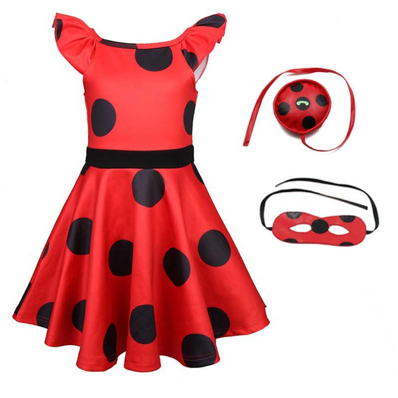 Аниме платья для девочек фантазия спандекс одежда в виде божьей коровки детское рождественское платье Леди Жук зентай костюм Хэллоуин косплей костюм для девочек