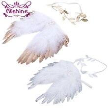 Nishine золотые серебряные крылья Ангела из перьев с ободок с листьями повязки для волос реквизит для фотосессии аксессуары для новорожденных