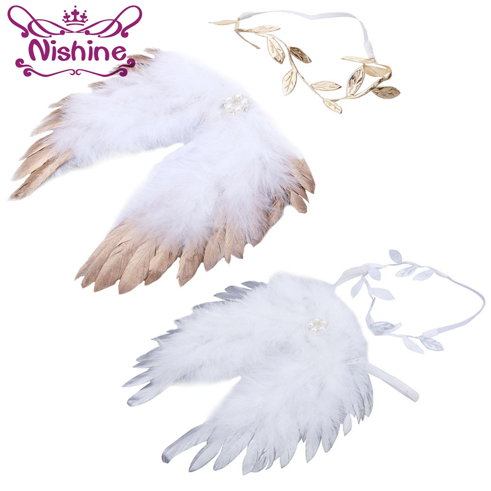 Nishine Golden Silver Angel Feather Wings With Leaves Headband Hair Head Bands Photography Props Newborn Accessories
