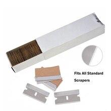 Ehdis 100 pçs lâminas de metal raspador de barbear cola adesivo removedor vidro mais limpo pá lâmina aço carbono carro widnow tingimento ferramentas