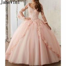 Janevini принцесса розовый синий quinceanera платья для сладких