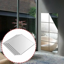 4pcs set 30cm Mirror Cell Sticker Acrylic Mirror Wall Sticker Square Self-adhesive Home Bedroom Bathroom Decor Mural Mirror Cell cheap KITPIPI CN (Herkunft) Other Glas silver 30*30cm mirror stickers