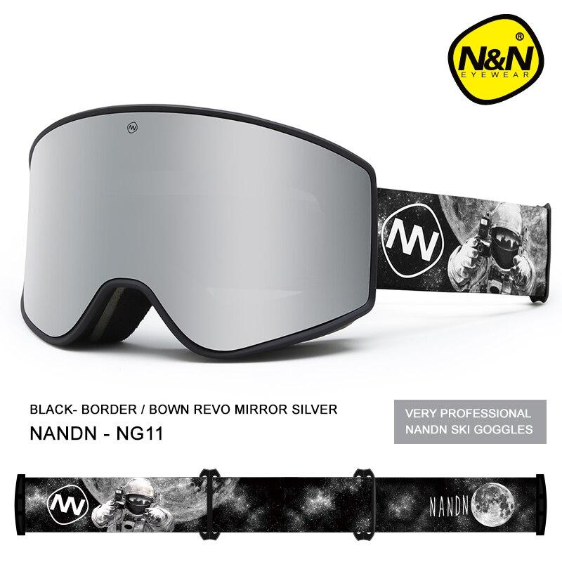 NANDN лыжные очки двухслойные UV400 Анти туман большой Лыжная маска очки Лыжный Снег Мужчины Женщины Сноуборд очки