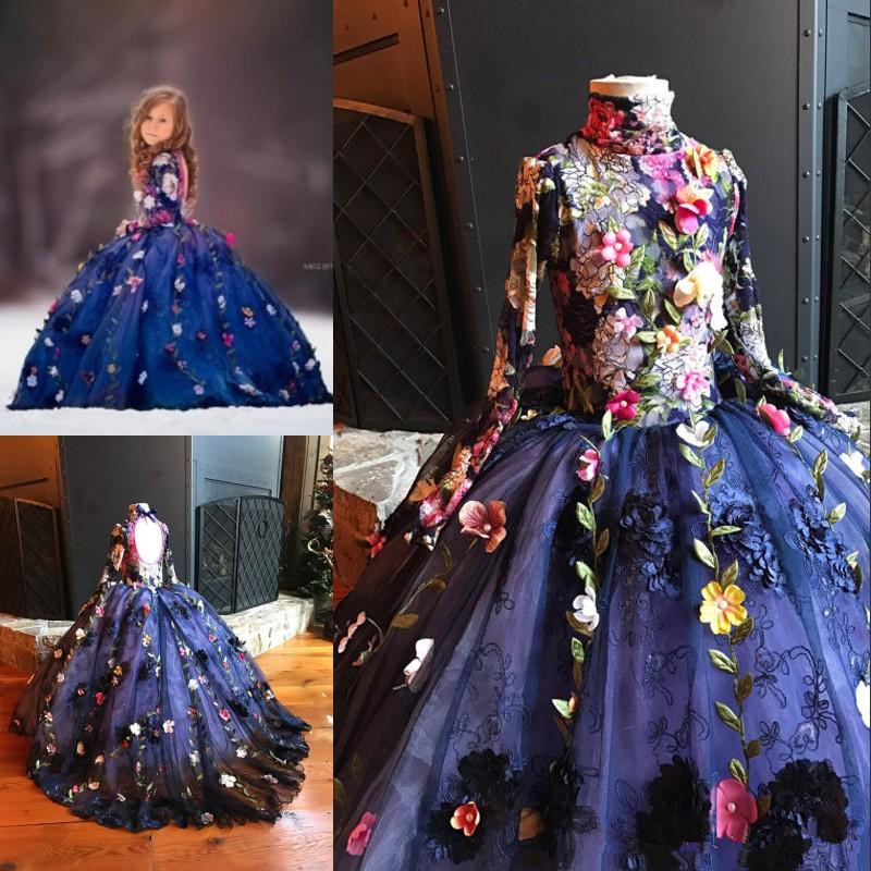 Pretty Fairty Flower Girls Dress High Neck Long Sleeve 3D Floral Apliques Girls Pageant Dresses Lovely Birthday Dress