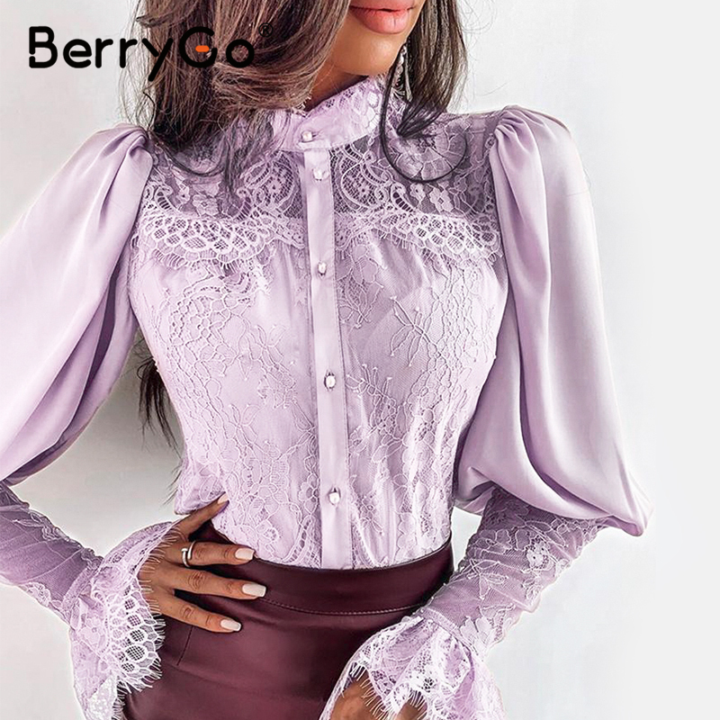 BerryGo Lantern sleeve sexy lace women   blouse     shirt   Eleagnt embroidery satin   blouse   top female Party club wear button spring top