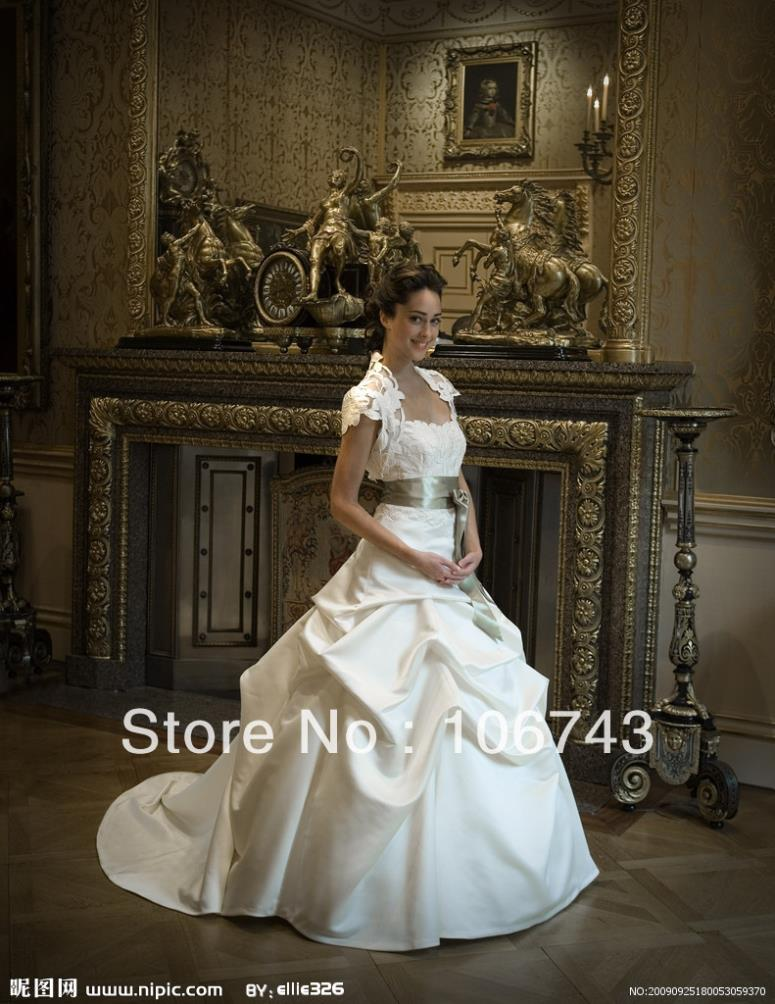 Free Shipping 2016 New Fashion Design Vestidos Satin Lvory Formal Elegant Ball Gown Lace Jacket Wedding Dresses Bridal Gown