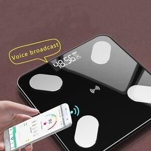 Balança de gordura corporal inteligente balança de imc alimentado por bateria led digital banheiro balança de peso sem fio bluetooth app android ios