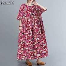 Zanzea vestido de verão feminino manga curta festa vestido de verão boêmio vintage floral impresso solto baggy vestidos kaftan robe femme 7