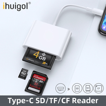 цена на ihuigol 3 in 1 SD/TF/CF Card Reader Type c to Micro SD TF CF Smart Memory Card OTG Adapter For PC Phone Laptop Tablet Universal