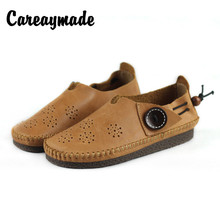 Careaymade-Genuine Leather literature and art Vintage flat heel soft sole single shoes,spring summer hand casual shoes