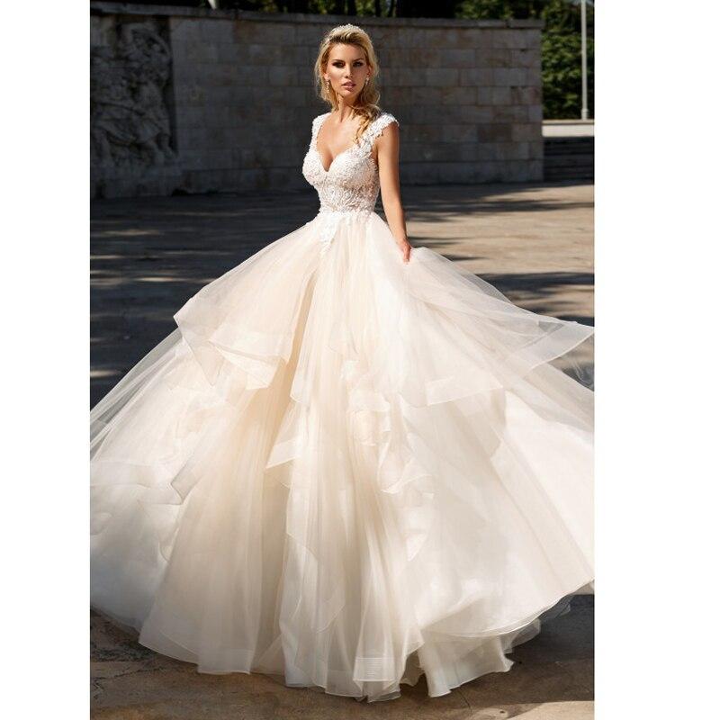 Elegant A-Line Ruffles Tiered Boho Beach Champagne Wedding Dresses Deep V Neck Lace Appliques Gowns Custom Vestido De Noiva