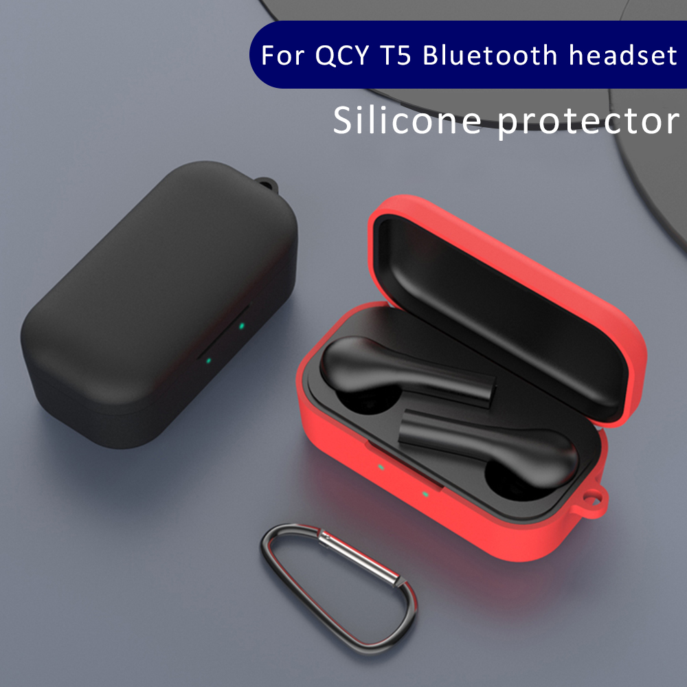 Shockproof Silicone TPU Case For QCY T5 Protective Case Wireless Bluetooth Earphone Portable Headset Cover With Anti Lost Buckle