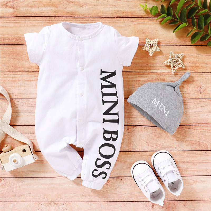 PatPat 2020 Hot Sales Autumn and Spring Baby Boy MINI BOSS Baby Rompers with Hat baby born clothes Jumpsuits Baby's Clothing | Happy Baby Mama