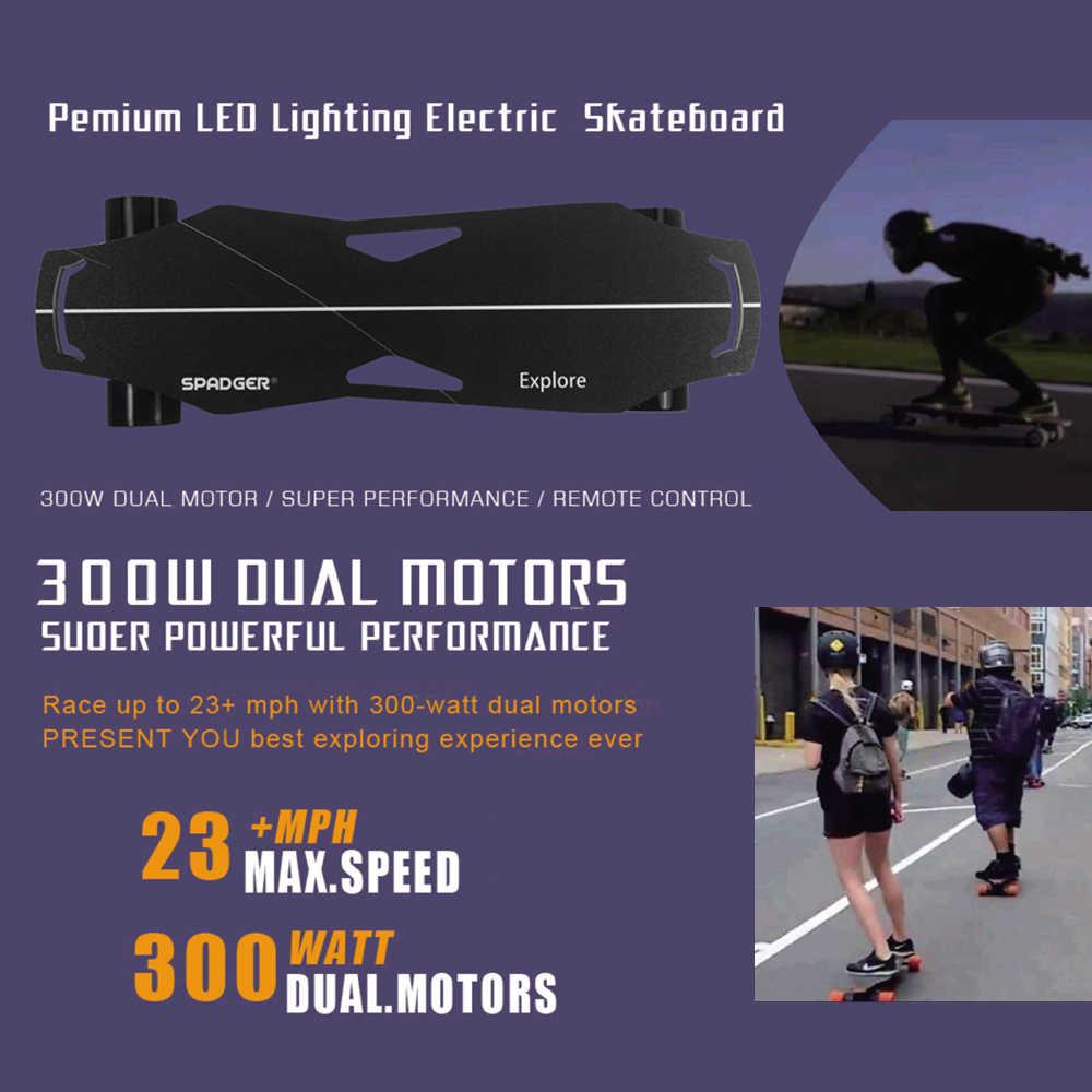 Patín eléctrico de cuatro ruedas de 300 W, patín eléctrico de doble Motor, 23MPH, velocidad máxima con luz, envío gratis de la UE
