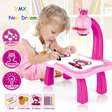 Trace and Draw Projector Toy Kids Drawing Projector Table Child Learning Desk with Smart Projector with Light Music QP2