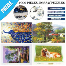Adult DIY Landscape Animal Pattern Picture Jigsaws Home Game 1000 Pieces animal landscape oil painting jigsaw plane puzzle(China)