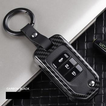 Funda de bolsillo de control remoto de coche de aleación de fibra de carbono para Honda Civic CR-V HR-V Accord Jade Crider Odyssey 2015-18 protector de mando a distancia