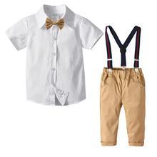 Ubrania dla maluchów 2020 letnie stroje dla 1 7 lat ubrania dla chłopców biała koszula z krótkim rękawem + spodnie khaki komplet garniturów dla dzieci