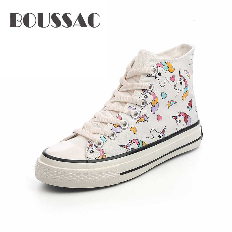 BOUSSAC Women Canvas Shoes 2019 Autumn Student High Top White Sneakers Unicorn Cute Cartoon Shoes Woman Sneakers