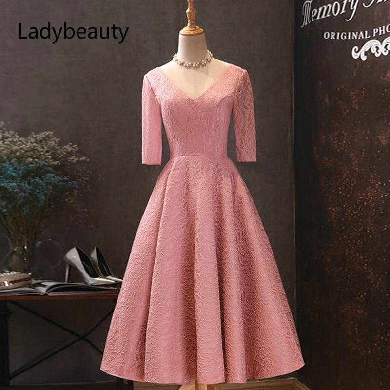 Prom Dresses Elegant Soybean Plus Size Vestidos De Gala V-neck Half Sleeve Tea Length Dress Women Party Dresses