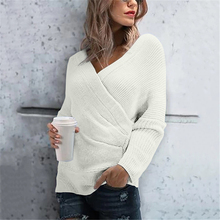 Womens Slim Fit Solid Color Sweater Tops Cross Sexy V-neck Long Sleeve Pullovers Casual Sweaters