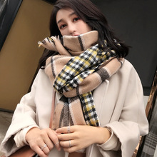 New cashmere scarf in autumn and winter with thicker tasseled lattice Korean version of warm shawl