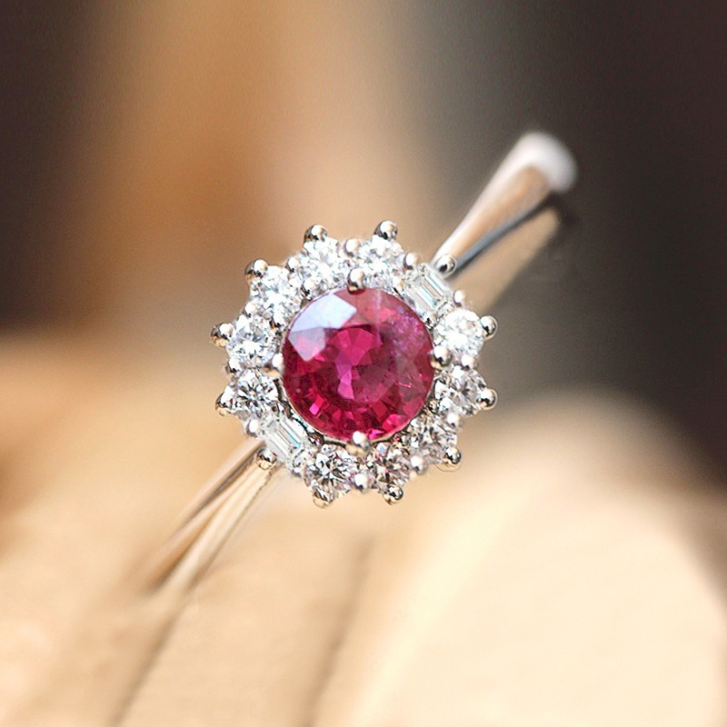 Rose Red Zircon Stone Rings For Women Vintage 925 Sterling Silver Promise Love Engagement Ring Luxury Bridal Wedding Jewelry(China)