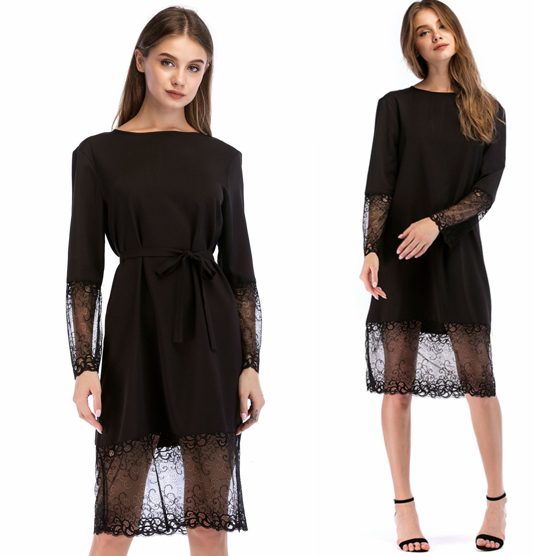 BacklakeGirls Plus Size Lace Tulle Edge Round Neck Long Sleeve Cocktail Dress With Sashes For Cocktail Party Robe De Cocktail
