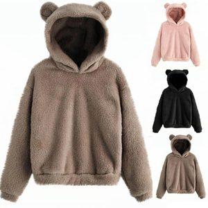 Elastyczny 1PC ciepły miękki wygodny czarny piękny z niedźwiedziami uszy różowy solidna bluza z kapturem swetry bluza
