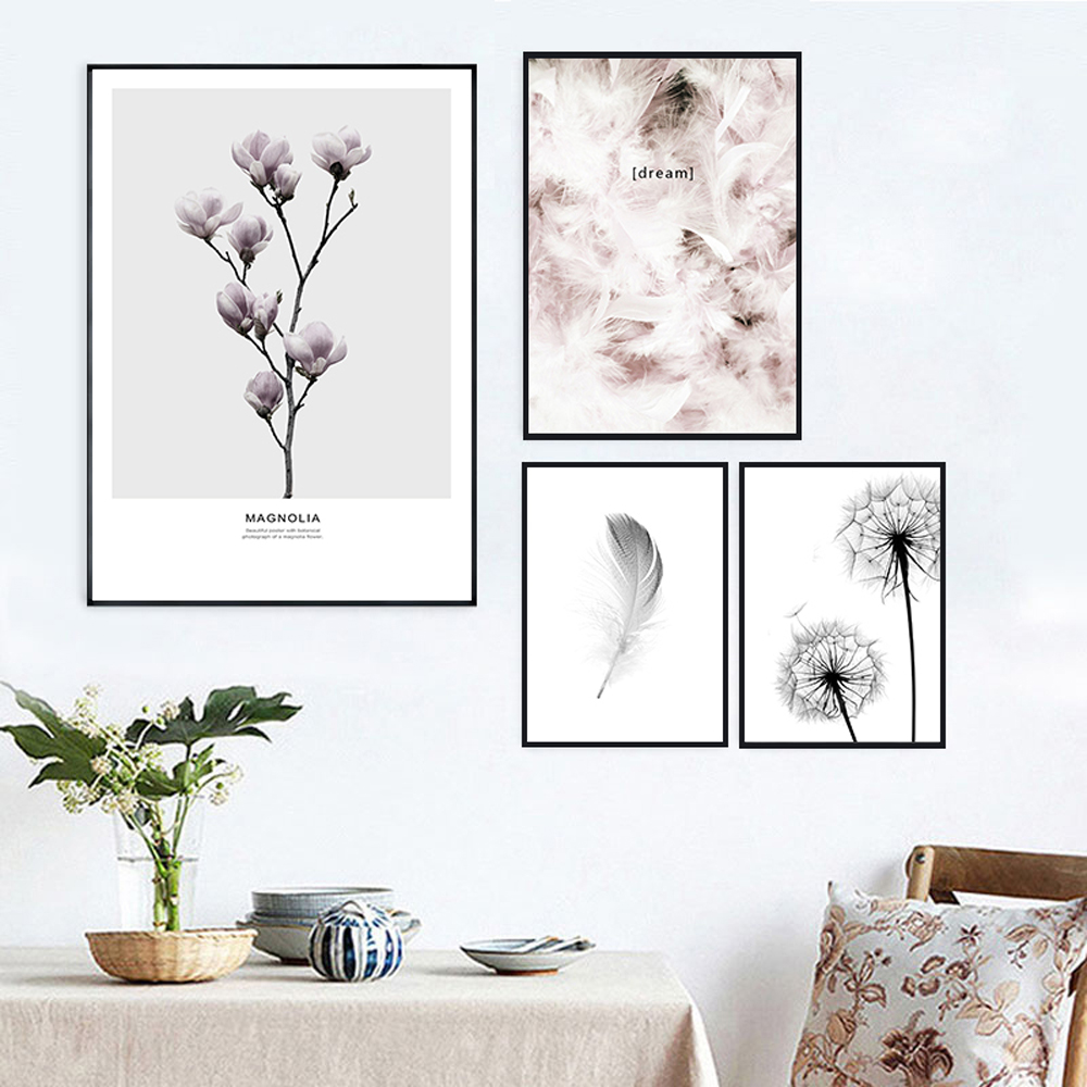 Nordic Canvas Painting Flowers Paint Pictures Wall Art Print Feather Poster Black And White Posters Live Unframed