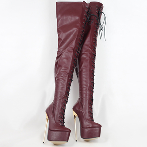 Image 4 - jialuowei Crotch High Boots with Gold Metal Stiletto Heels Lace Up High Heel Platform Shoes Pointed Toe Over Knee Women Boots