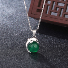 925-Silver Necklace Jewelry Charm Agate Pendant Green Jade Natural Amulet Chinese Carved-Fashion