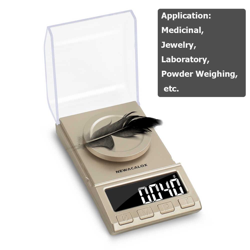 NEWACALOX 50g/100g Mini balances numériques de précision 0.001g Balance poids électronique bijoux Balance USB alimenté médicinal pesage
