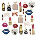Gold JulieWang 12pcs Enamel Bees Charms for Women Jewelry Necklace Making Pendants