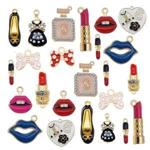 Necklace Pendant Lipstick Bracelet-Accessory Jewelry-Making Alloy-Mixed Julie Wang Enamel Charms