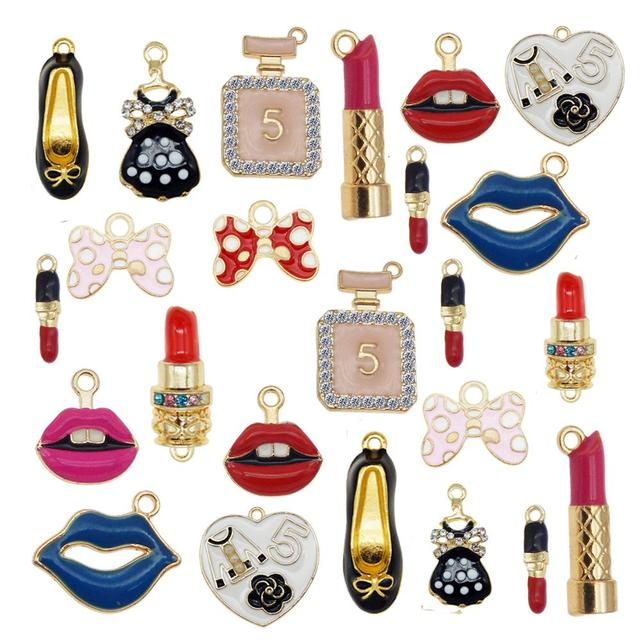 Julie Wang 12PCS Enamel Charms Alloy Mixed Girl Lipstick Lip Dress Shoes Necklace Pendant Bracelet Accessory Jewelry Making
