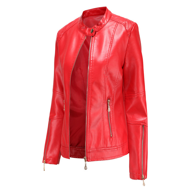 New Fashion Spring Autumn Women s Leather PU Jacket Office Lady 4xl Large Size Casual Slim Fit Short Coat Stand Collar Thin Tops