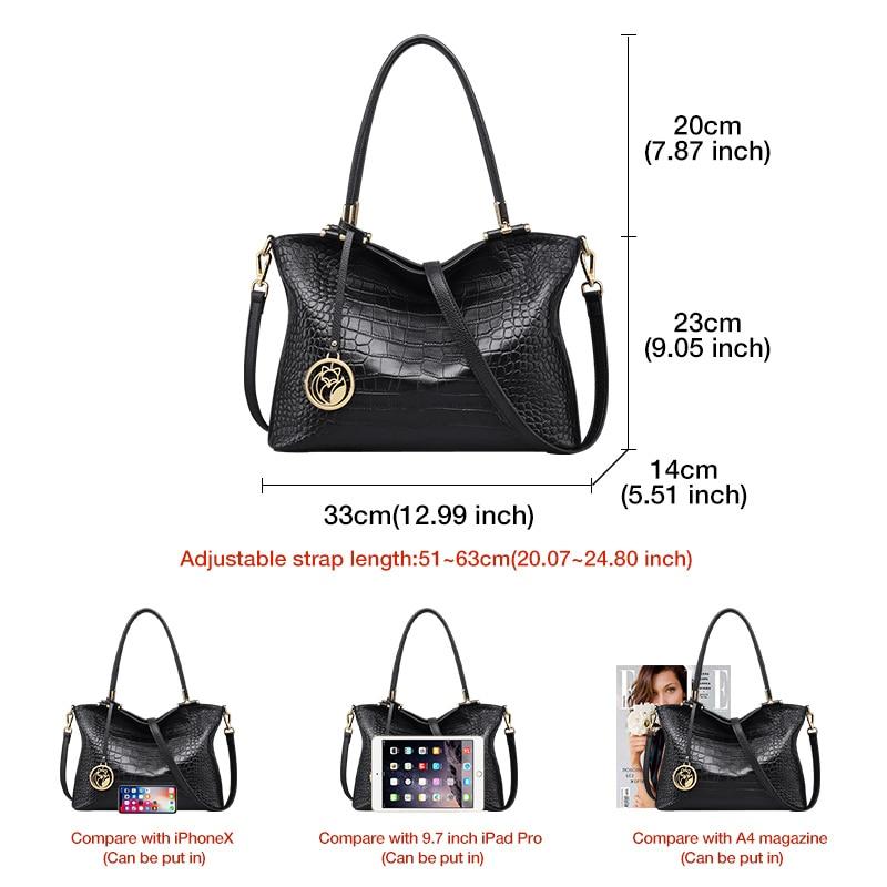 Foxer Stamy Women Genuine Leather Handbags Black
