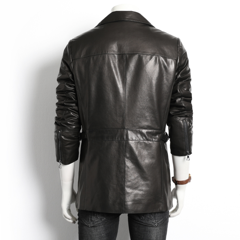 Genuine Leather Jacket Men Autumn Winter Real Goatskin Leather Coat For Men Motorcycle Men's Leather Jackets 991 KJ4027