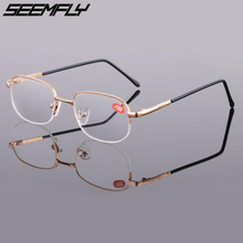 Seemfly Half Frame Metal Finished Myopia Glasses Men Women Gold Square Nearsighted Eyeglasses -1.0 -1.5 -2.0 To -4.0 Male