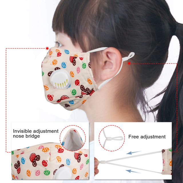 Kids Mouth Face Mask Antibacterial Breathable Valved Dust Mask Respirator Washable Reusable High Qualit 5
