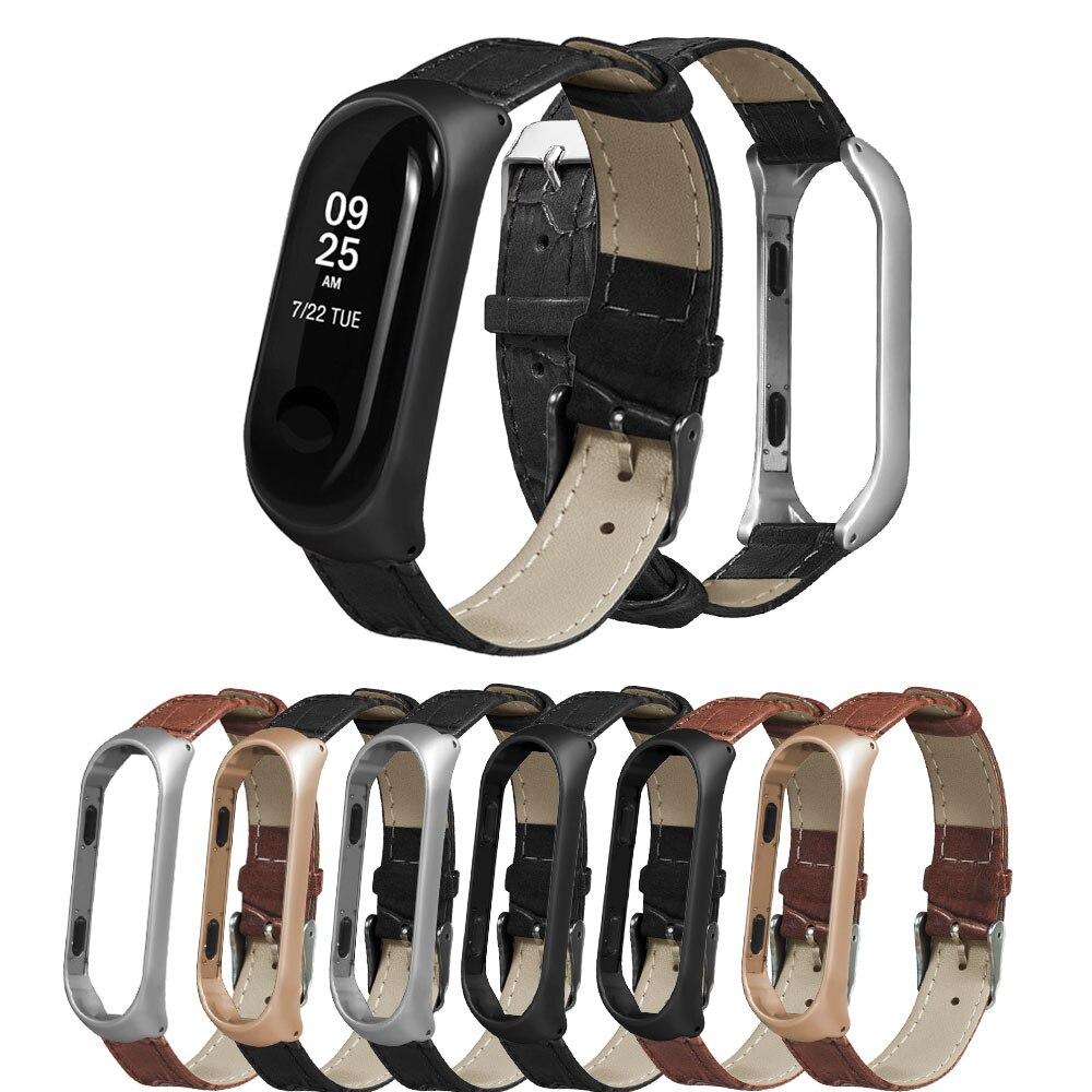 Leather Strap For Xiaomi Mi Band 4 3 Smart Watch Metal Case For Miband 4 Bracelet Sport Wrist Bands For Mi Band 4 Belt Women Men