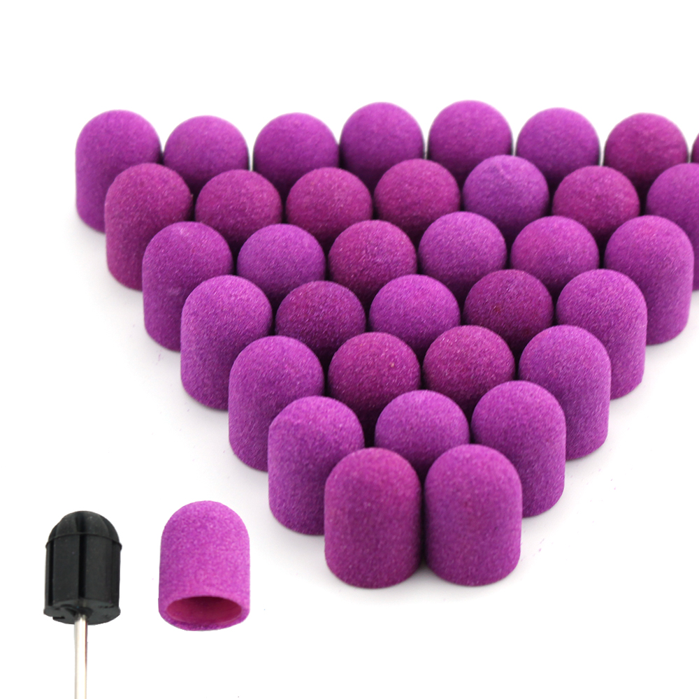 20pcs 10*15/13*19 Purple Nail Sanding Caps With Rubber Gel Remover Cutter Drill Bits Pedicure Cuticle Tools Drill  Accessories|Nail Art Equipment|   - AliExpress
