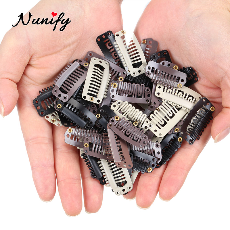 Nunify Remy Hair Clip Wonder Clips Hair Clips For Women 32Mm 9-Teeth Hair Extension Clips Stainless Steel Wig Hair Clips