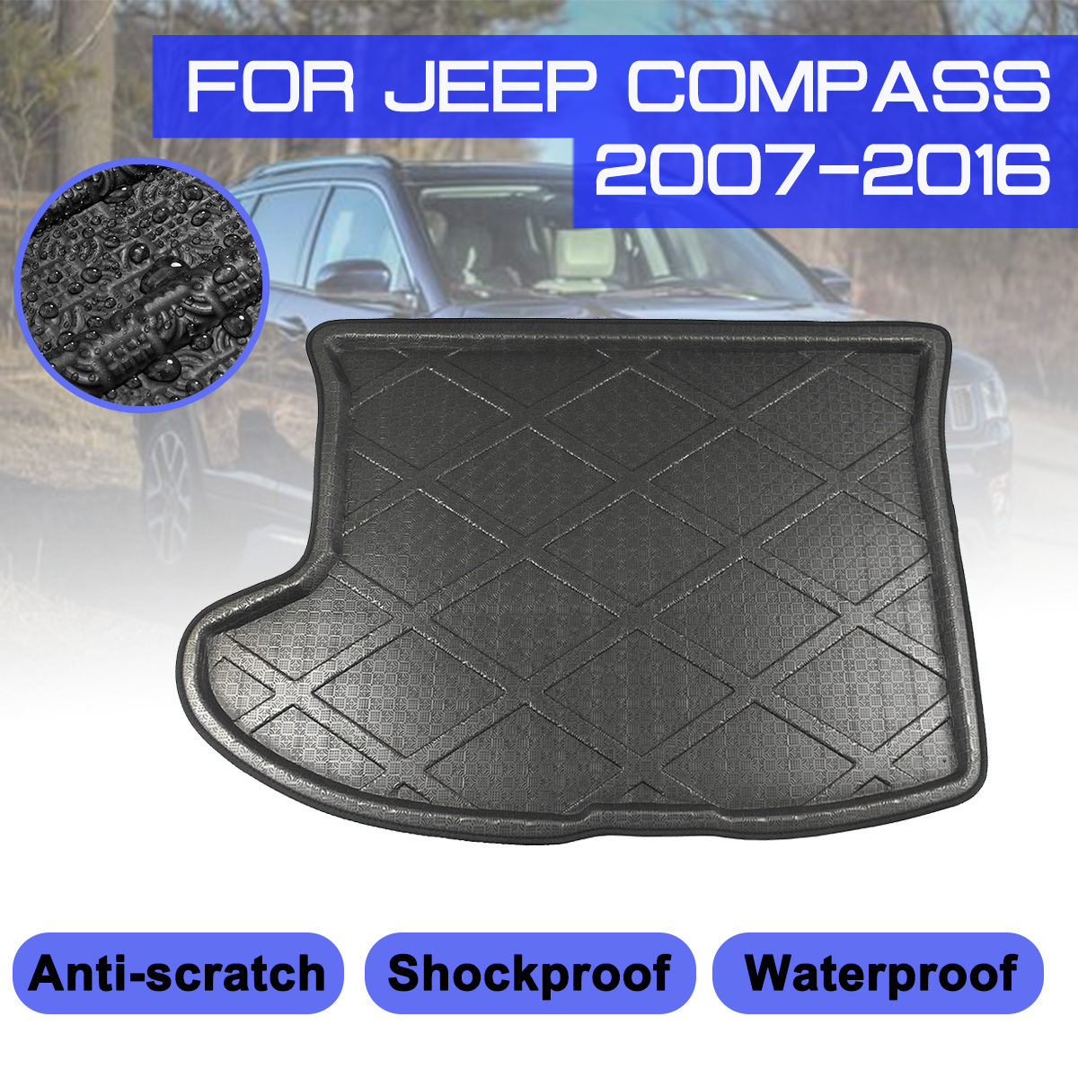 For Jeep Compass 2007 2008 2009 2010-2016 Car Rear Trunk Boot Mat Waterproof Floor Mats Carpet Anti Mud Tray Cargo Liner