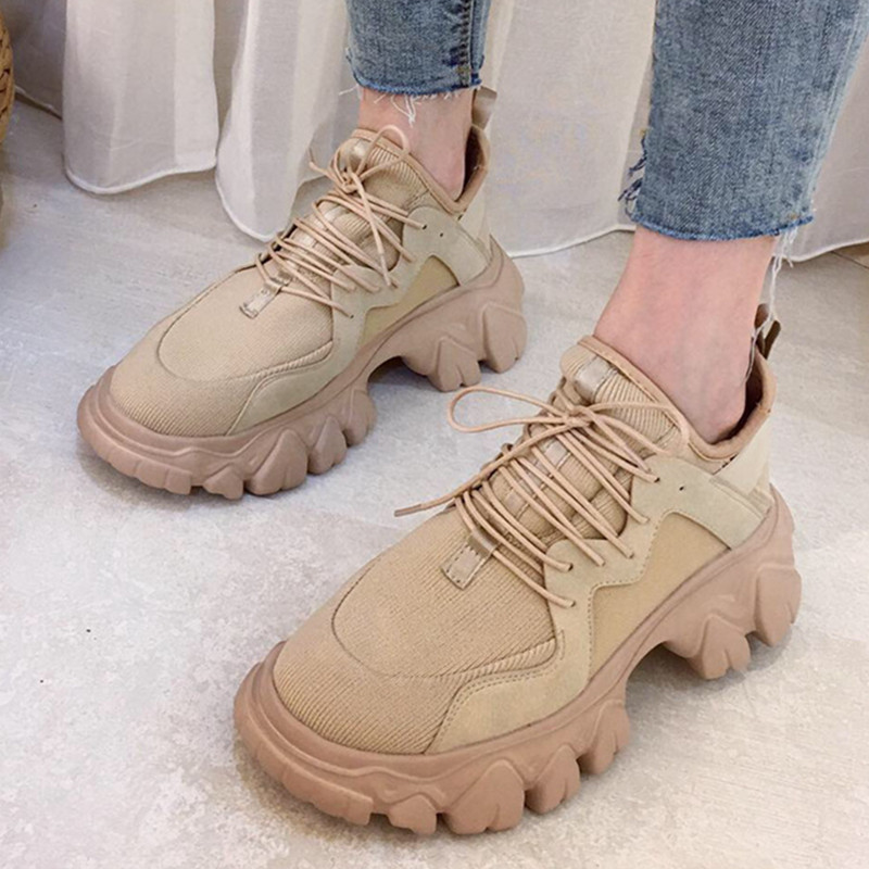 Women Chunky Sneakers Khaki Mesh Platform Casual Dad Shoes 6cm Height Increasing Thick Sole Women Platform Sneakers