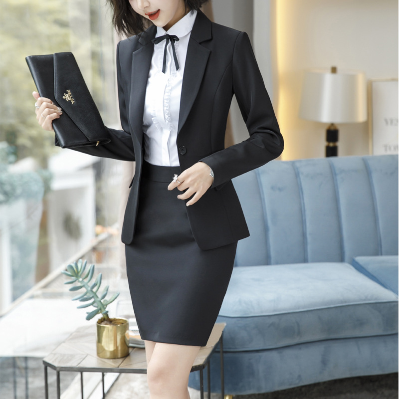 Spring Autumn Long Sleeve Slim Formal Skirt Suit Ol Women's Ladies Work Wear Grey Blazers Shirt Suits Blouse Costume Dress Coat