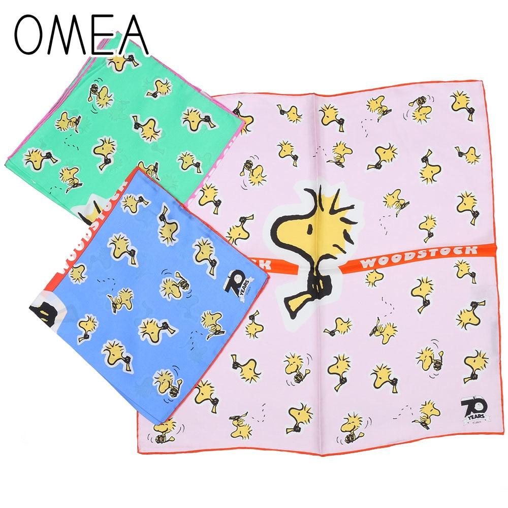 OMEA 100% Real Silk Small Square Scarf Women Accesories Yellow Cartoon Dog Pink Kerchief Luxury Head Scarf Fashion Royal Blue